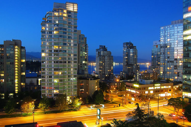 Architecture British Columbia Building Exterior Built Structure Canada City Cityscape Horizontal Illuminated Modern Night No People Outdoors Sky Skyscraper Tree Urban Skyline Vancouver
