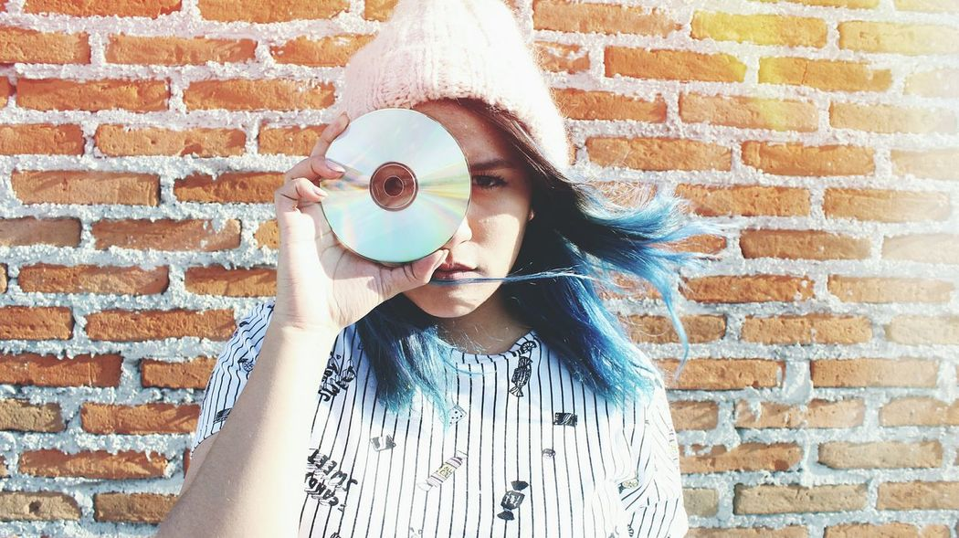 Brick Wall One Person One Woman Only People Only Women Headshot Blue Hair ❤ Blue Hair Happiness Beautiful Woman Beautiful People Front ViewHuman Body Part Portrait One Young Woman Only Young Adult Adult Standing Outdoors Child Childhood Young Women Day Lifestyles Close-up