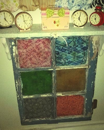 Vintage Window Vintagestyles Vintage Clocks Repurposed Windows My Quirky Style Clock No People Variation Indoors  Day Multi Colored Close-up Time