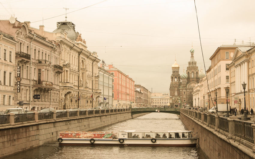 Griboedov canal near the Savior on blood Cathedral Architecture Building Exterior Built Structure Canal City Cityscape Mode Of Transport Outdoors Transportation Travel Destinations