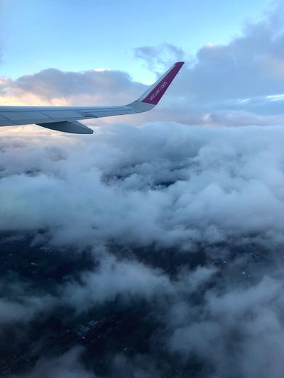 Cloudy sky Flight Airplane Cloud - Sky Sky Beauty In Nature Mountain Water Nature Scenics - Nature Fog
