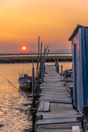 Harbour Rio Beauty In Nature Boat Dock Nature Nautical Vessel No People Outdoors Palafitic Palafitico Palafitte River Sado Scenics Sky Sol Sunset Tranquility Water Wood Structure