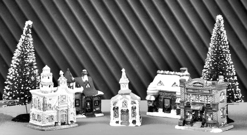 Merry Christmas! Christmas Christmas Town Christmas Trees Christmas Village Happy Holidays Black And White Photography Day Indoors  Merry Christmas No People Place Of Worship Sculpture Statue Village