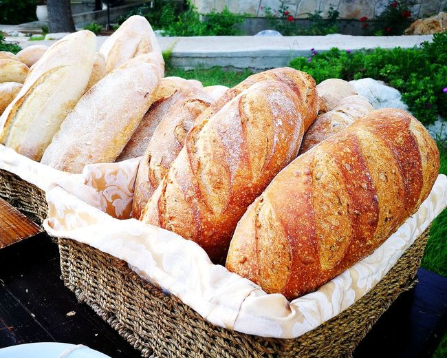 High angle view of bread in basket for sale