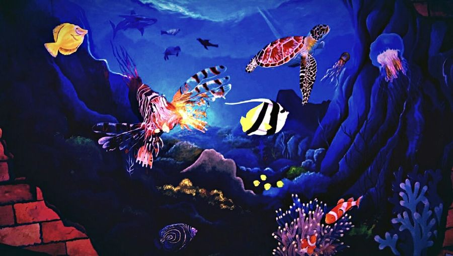 Beautiful live painting on the wall of my room Live Painting Creative Wall Art Ocean View Happy New Year 2016 Wall Painting Sea Life Betterlooktwice Art Is Everywhere