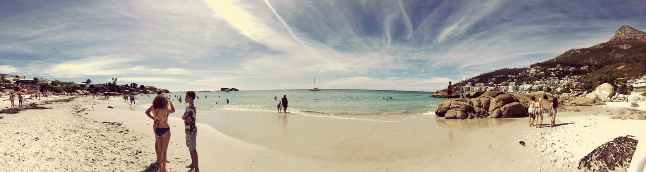 Panoramic view of people on beach