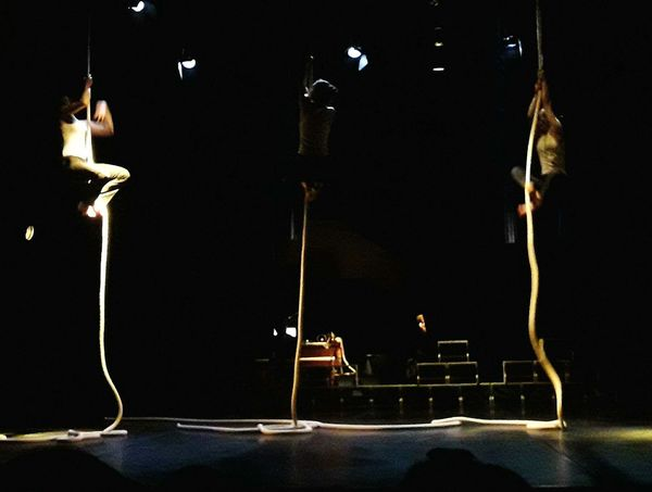 Dancers on the ropes Indoors  Arts Culture And Entertainment Night Performance Musical Instrument Dance Show Modern Theater On Stage Behind The Scenes