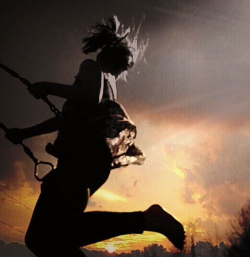 Swinging to the clouds Sunset Silhouette Sky One Person Cloud - Sky Outdoors Adult People Adults Only Human Body Part One Man Only Beautiful People Young Adult Beauty EyeEmNewHere Scenics Beauty In Nature Silhouette Park swinging Nature Littlegirl childhood Memories Of Summer Looking At Camera Close-up Young Women