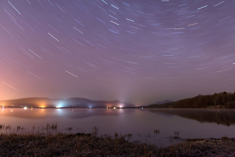 Star trails from Balloch park part of Loch Lomond and Trossachs national park in Scotland Night Star - Space Astronomy Reflection Milky Way Galaxy Space Constellation Long Exposure Sea Sky Landscape Summer Nature Beach Illuminated Outdoors Water Beauty Moon Loch Lomond Freshwater Astrophotography Trossachs National Park Startrails