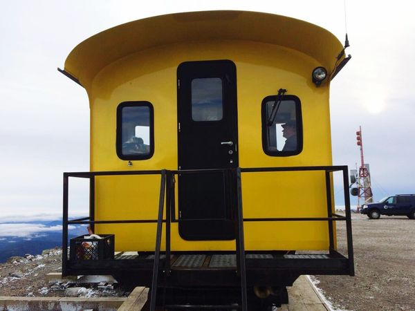 Paint The Town Yellow Transportation Yellow Mode Of Transport Sky Public Transportation Day No People Stationary Outdoors Nature Vacations Train Mount Washington  New Hampshire, USA New England
