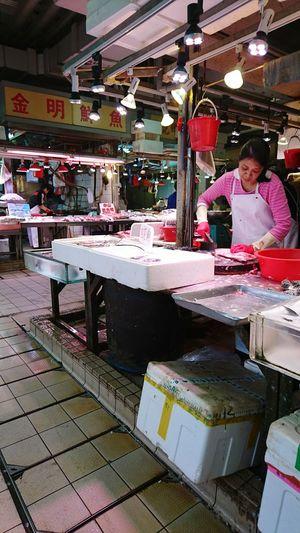 Wet market, Fanling, Hong Kong.People One Person Market Hong Kong Food Fish Fishmonger Freshness