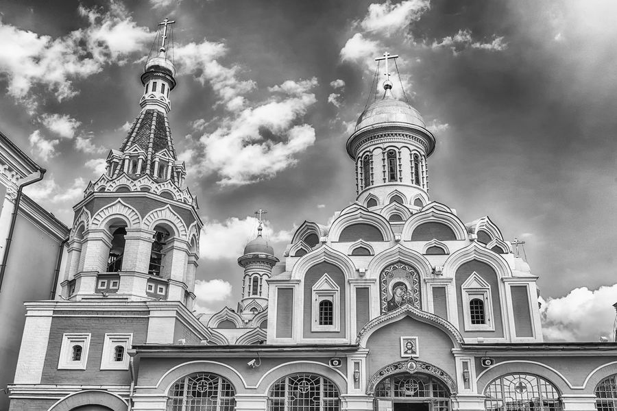 The russian orthodox Kazan Cathedral, iconic landmark in Red Square, Moscow, Russia Arch Architecture Belief Building Building Exterior Built Structure Cloud - Sky Day Low Angle View Nature No People Ornate Outdoors Place Of Worship Religion Sky Spire  Spirituality The Past Travel Destinations