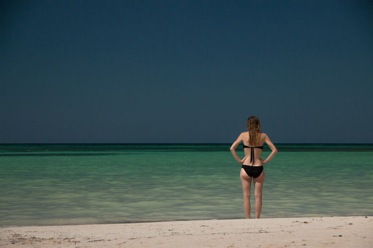 Rear View Of Young Woman Standing At Beach Against Clear Sky