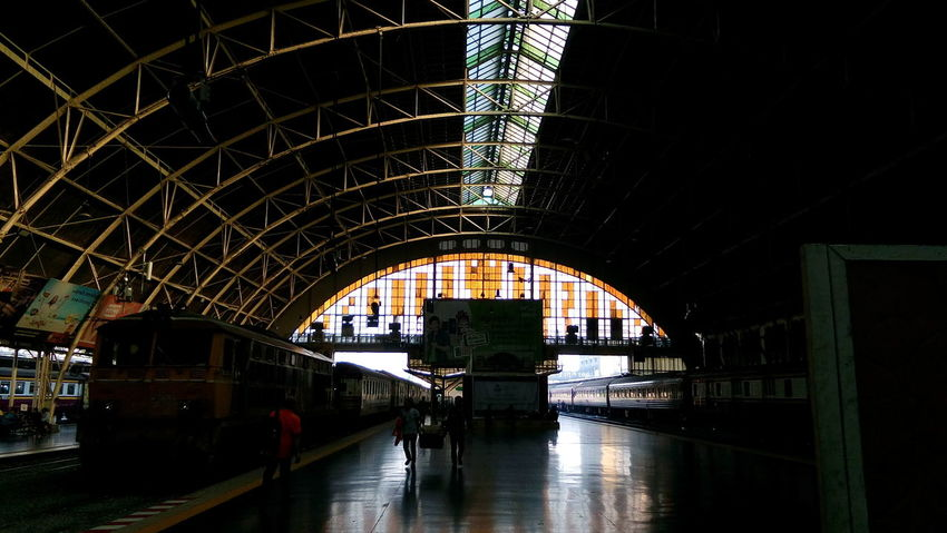 Old Train Station Hua Lamphong Railway Station, Bangkok, Thailand Hua Lamphong Station Old Train Station Architecture Bridge - Man Made Structure Hua Lamphong Indoors  Old Buildings Public Transportation Transportation Travel