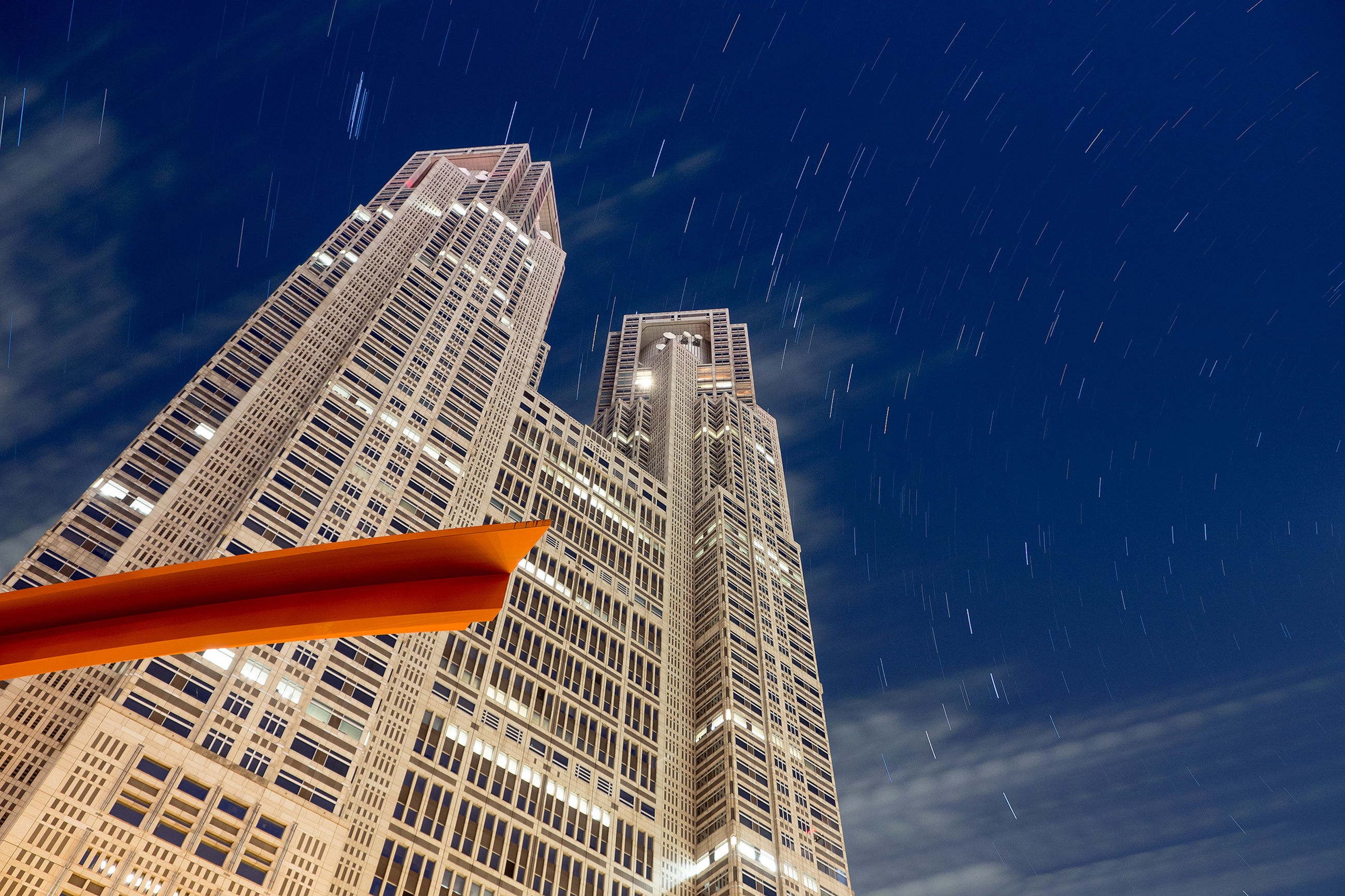 LOW ANGLE VIEW OF MODERN SKYSCRAPERS