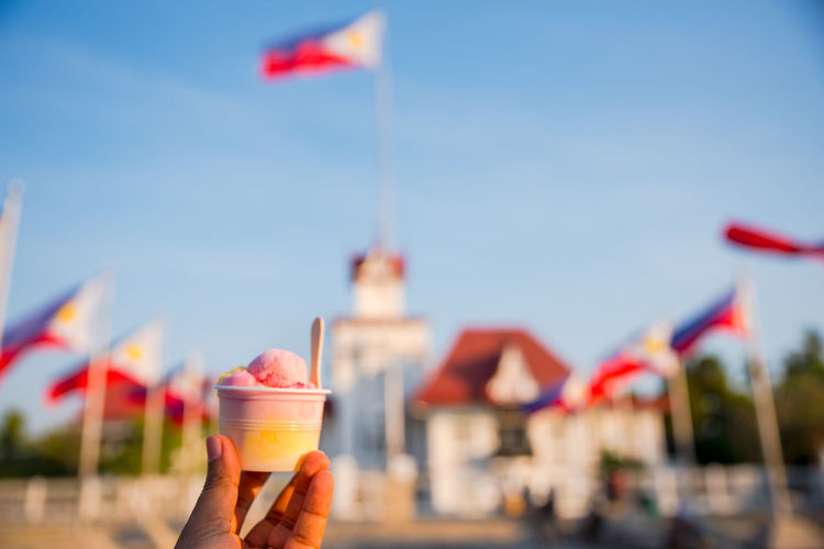Refresh with ice cream while taking a tour at aguinaldo shrine, kawit, cavite, philippines.