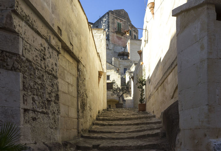 Matera Italy Unesco UNESCO World Heritage Site Architecture Built Structure Building Exterior Building The Way Forward Direction Staircase Narrow Residential District Day No People Outdoors Nature Old Town Wall - Building Feature Sky City History House Alley Steps And Staircases