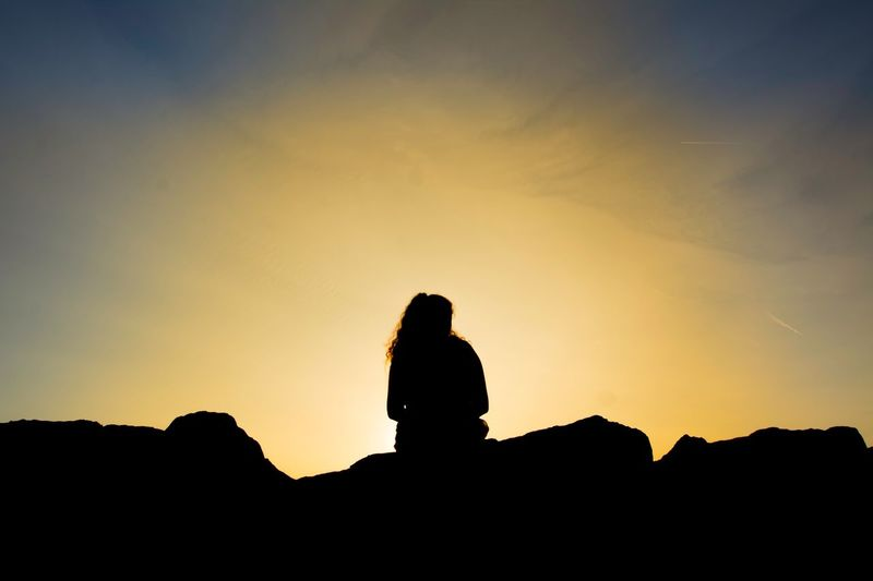 Just a beautiful silhouette of a beautiful girl 🙂 Silhouette Sitting Sunset Nature Sky Outdoors Tranquility Beauty In Nature Landscape One Person Real People Day Italy Warm Summer 2017 Lost In The Landscape