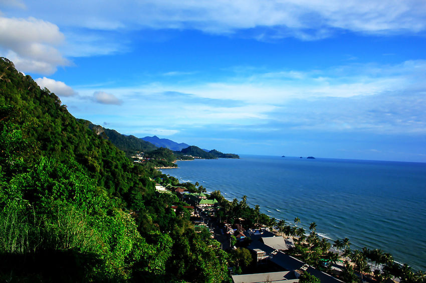 High angle view, sea and clear sky. Architecture Bay Beauty In Nature Blue Cloud - Sky Day High Angle View Horizon Horizon Over Water Landscape Sea Landscape Sea Nature Outdoors Landscape Seascape Mountain Nature No People Outdoors Plant Scenics - Nature Sea Sky Tranquil Scene Tranquility Tree Water