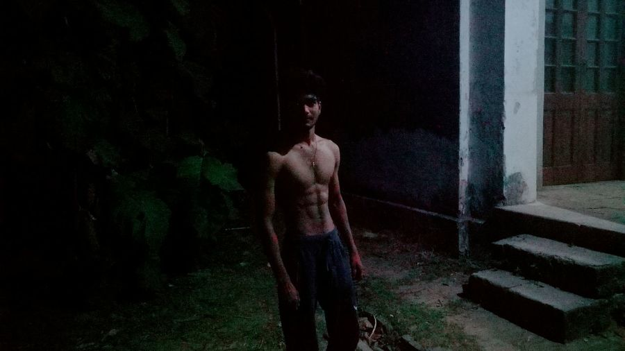 One Person Night Architecture City Dark Outdoors Standing Fear Horror Athlete Shirtless Chest Sixpack Front View Manjesh Kumar Gorakhpur This Is My Skin Looking At Camera Black Background Muscular Build Architecture Sky Building Plant Chargawan Gorakhpur
