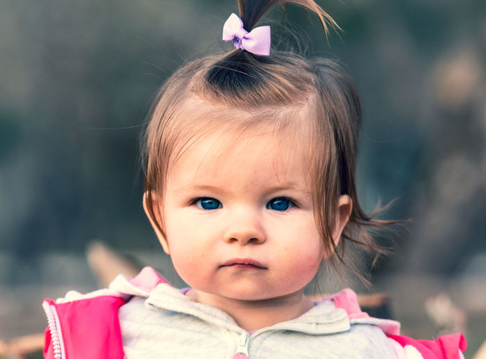 Close-up portrait of cute baby girl