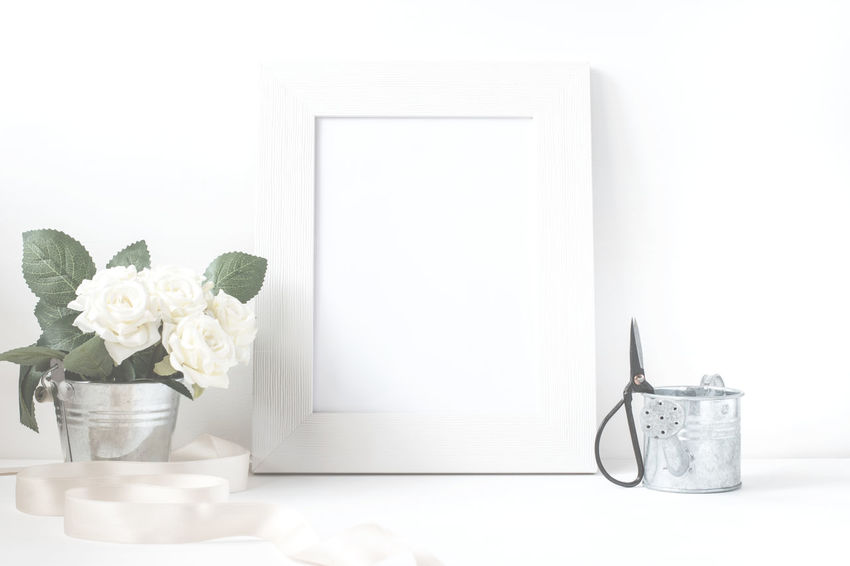Picture Frame With Flower Bouquet. Blackboard  Blank Bucket Card Chalkboard Design Flower Flower Bucket Frame Mock-up Mockup Paper Picture Picture Frame Postcard Rose🌹 Shabby Chic