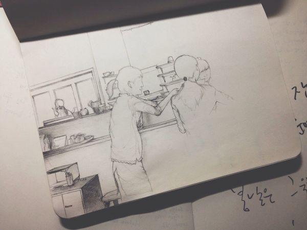 14.02.25 어제 책상 위에 널부러진 노트들을 정리하다가 군대에서 쓰던 노트를 보는데 근무중에 그렸던 그림이?(역시나 미완성)