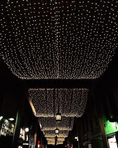 Low Angle View Illuminated Night Lights Meena Bazaar Dubai Streetphotography Dubai Market Place