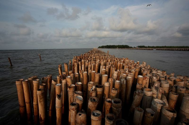 Stack of wooden posts on sea against sky