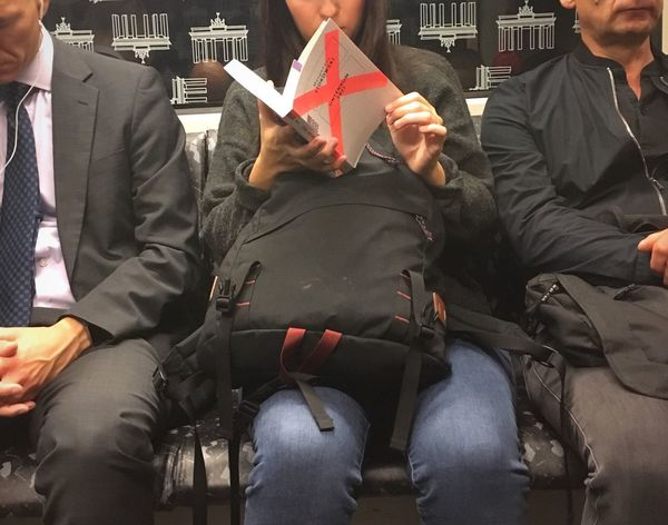 Untenrum frei Margarete Stokowski Book Untenrum Frei Woman Reading Bvg Transportation Group Of People Arts Culture And Entertainment People Adult Indoors  Real People