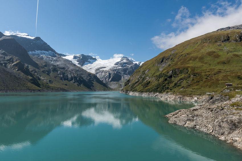 Himmel Hochgebirge Hochgebirgsstausee Hohe Tauern Karlingerkees Mooserboden Salzburger Land Schwarzköpfl Stausee Wolken Gebirge Kaprun Österreich