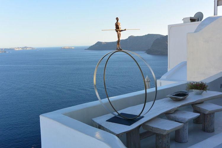 Little Sculpture Equilibrist Balance Sea View Santorini, Greece