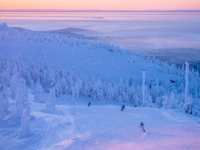 Scenic view of skiers on the slopes of Ruka Ski Resort against beautiful mid day light during the polar night, Kuusamo, Finland Polar Night Kuusamo Beauty In Nature Cold Temperature Finland Landscape Leisure Activity Nature Outdoors Ruka Skiing Snow Snow Covered Vacations Winter Perspectives On Nature Sport Sunset Scenics Real People Weather Winter Sport Frozen Tranquility Lifestyles Ski Holiday Competitive Sport People Adventure Tranquil Scene
