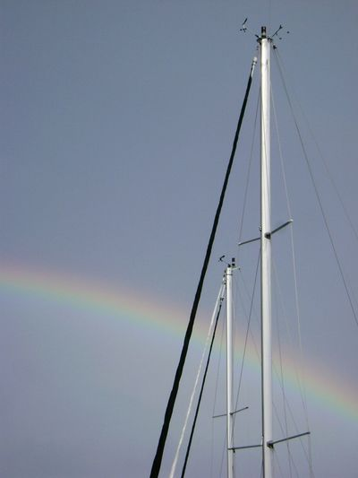 sailing and rainbows Rainbows Sailboat Sky_collection Safehaven Harbour View Harbor View Safe Harbour Pastel Power Masts Nautical Lines And Angles