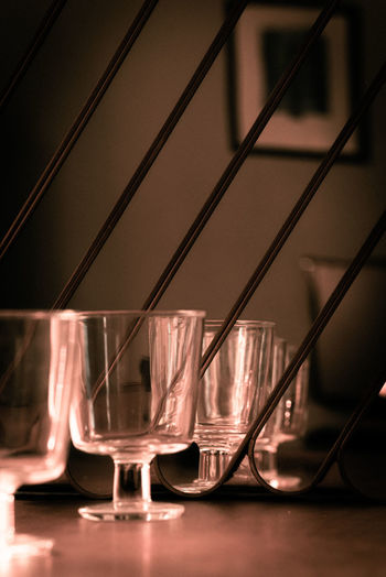 Close-up of beer glass on table at restaurant