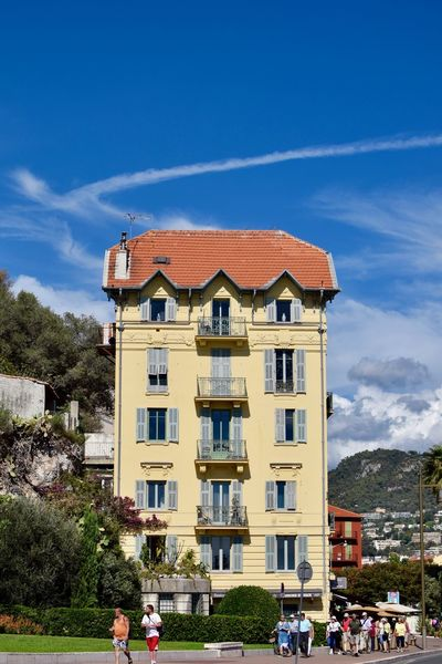 Architecture Blue Building Exterior Built Structure Day Façade French Riviera Grass Nice Nice France Outdoors People Sky Sunlight
