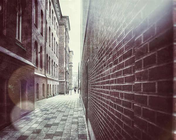Architecture The Way Forward Built Structure Building Exterior Outdoors Day City No People Sky Brick Wall Little Street Small Streets Bokeh Photography Lensflare Deep Perspective Monochrome Photography Stories From The City