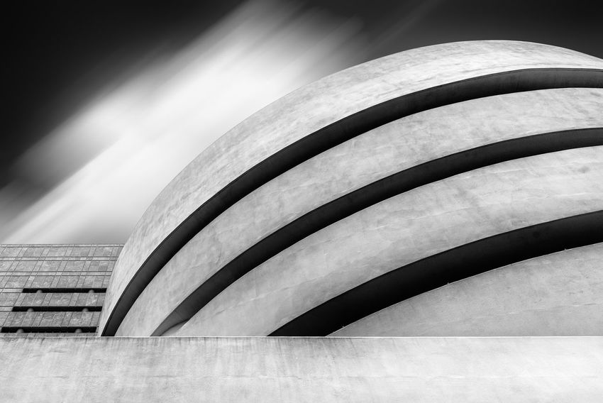Guggenheim Museum in New York Manhattan American NYC Travel Day Architecture Built Structure Building Exterior Nature Outdoors Modern Architecture Frank Lloyd Wright Frank Lloyd Wright Architecture Guggenheim Guggenheim Museum Landmark Iconic Iconic Buildings Solomon R. Guggenheim Museum Long Exposure No People Pattern Curve Building Low Angle View Sky