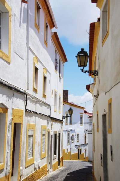 old facades in street of Elvas,south of Portugal Architecture Building Building Exterior Built Structure City Day House Nature No People Outdoors Residential District Sky Town Window