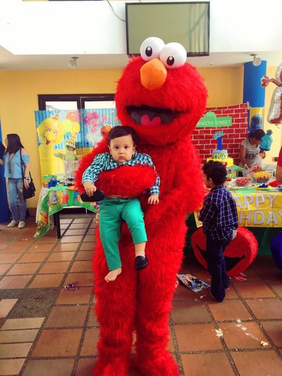 EyeEm Childhood Toy Boys Indoors  Looking At Camera Baby Babyboy Red Child Happiness Portrait Sesamestreet Elmo Green Color Greenbaby The light of my light ❤️