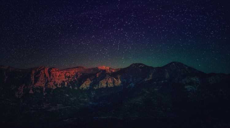 Mountain Beauty In Nature Nature Night Mountain Range No People Outdoors Astronomy Tranquility Sky Nightsky Skyline Nightskyphotography Star - Space Snowed Landscape Winter Stars