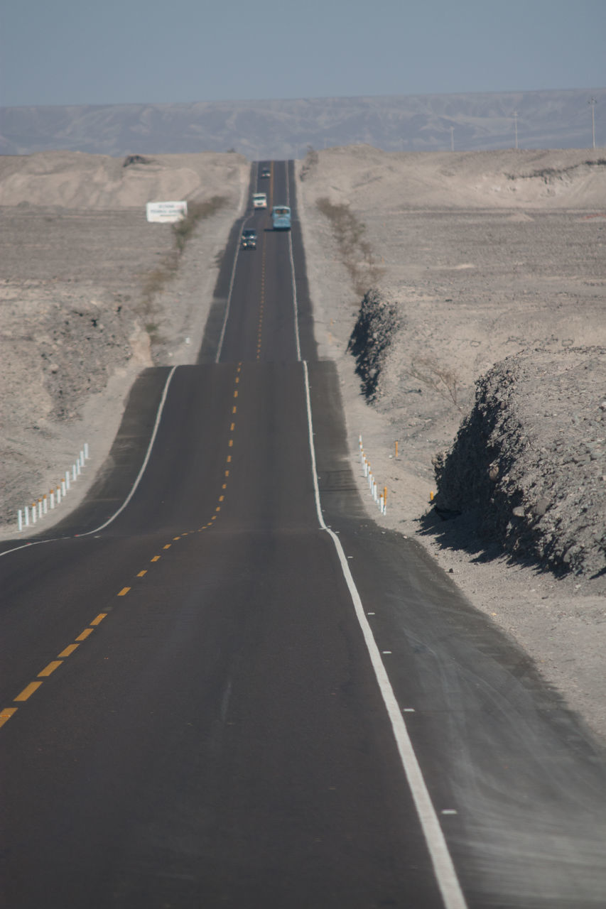 road, the way forward, transportation, road marking, diminishing perspective, asphalt, white line, no people, day, dividing line, landscape, outdoors, nature