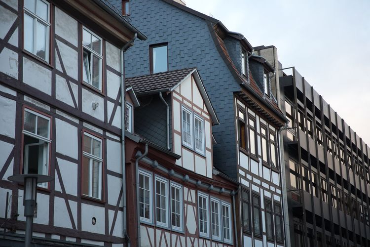 Historical old town goettingen architecture residential building exterior. wide shot.