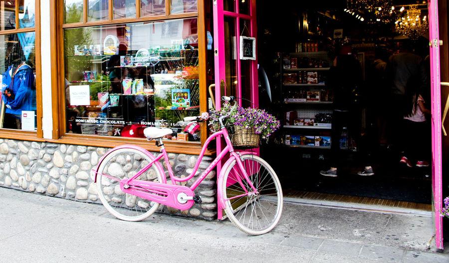 Bicycles on sidewalk in city
