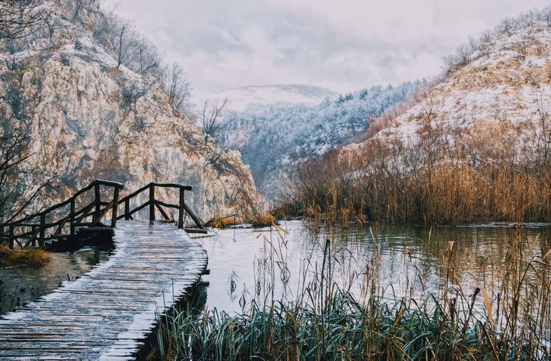 Croatia Winterscapes Wintertime Beauty In Nature Mountain Nature Nature_collection Nature_perfection Naturelovers Plitvice National Park Scenics Snow Tranquil Scene Tranquility Water Winter Winter Wonderland