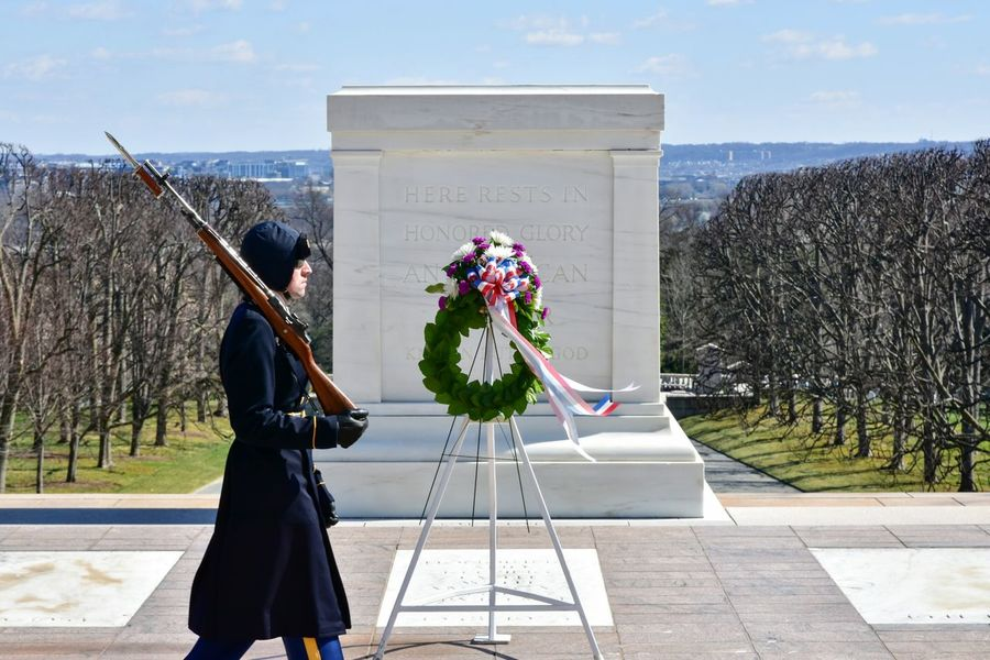 Tomb of the Unknown Soldier. One Person People Day Sky Tomb Of The Unknown Soldier Arlington National Cemetery Guard Military Military Uniform Virginia Tomb Cemetery