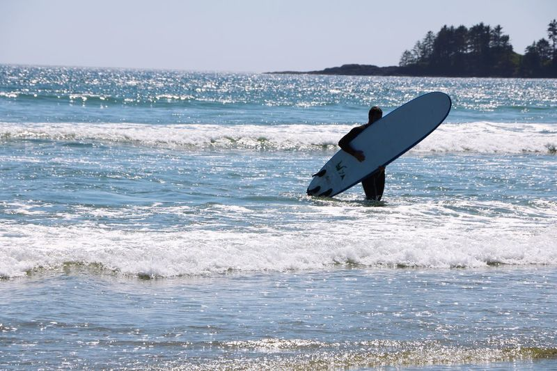 Silhouette man with surfboard standing in sea against clear sky