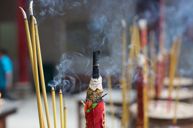 Close-Up Of Incense Stick Burning