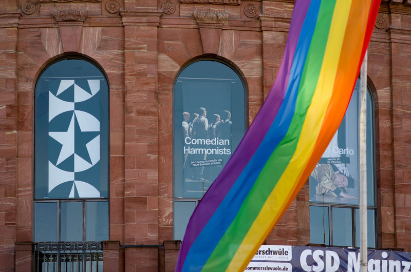 CSD Architecture Building Building Exterior Built Structure City Day Flag Multi Colored No People Outdoors Pride Staatstheater Text Love Is Love