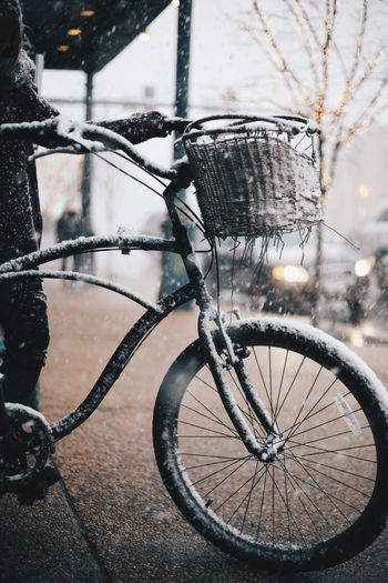 Close-up of bicycle in winter